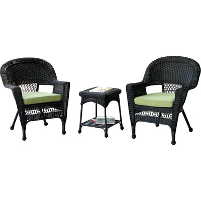 3 Piece Deep Seating Group with Cushion Finish: Black, Fabric: Green