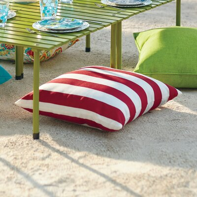Striped Outdoor Throw Pillow Color: Cherry