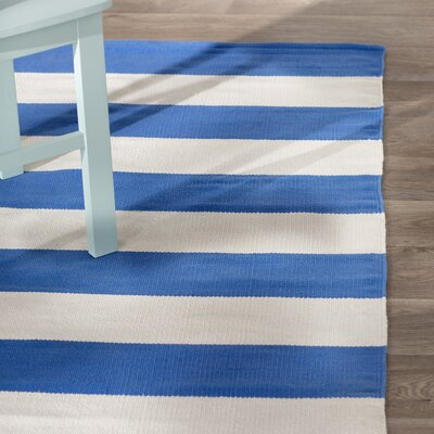 Brookvale Hand-Woven Cotton Blue/Ivory Area Rug Rug Size: Square 4