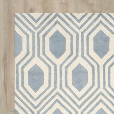 Aula Hand-Tufted Rectangle Blue/Ivory Area Rug Rug Size: Runner 23 x 7
