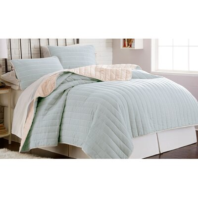 Haywood 3 Piece Solid Reversible Coverlet Set Size: King, Color: Cream/Blue