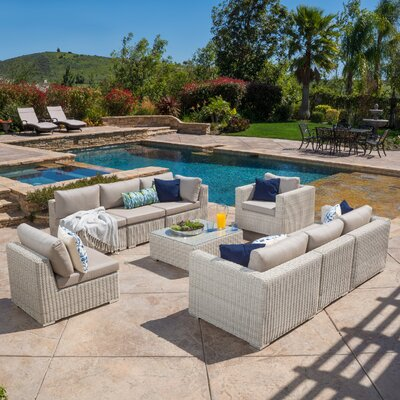 Dickens 9 Piece Outdoor Sectional with Cushions and Throw Pillows