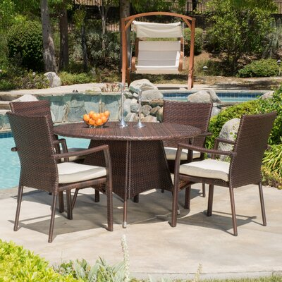Brandon  5 Piece Dining Set with Cushion Finish: Brown