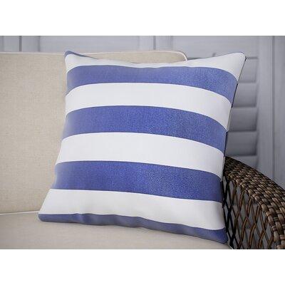 Striped Outdoor Throw Pillow Color: Indigo