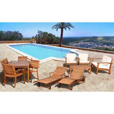 Elsmere 13 Piece Eucalyptus Lounge Seating Group with Cushions