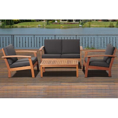 Elsmere 4 Piece Deep Seating Group with Cushion Fabric: Black