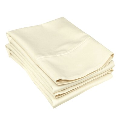 Campfield 500 Thread Count Pillowcase Size: King, Color: Ivory