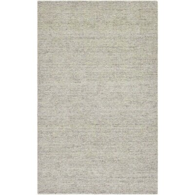 Afton Hand-Loomed Gray/Green Area Rug Rug Size: 35 x 55
