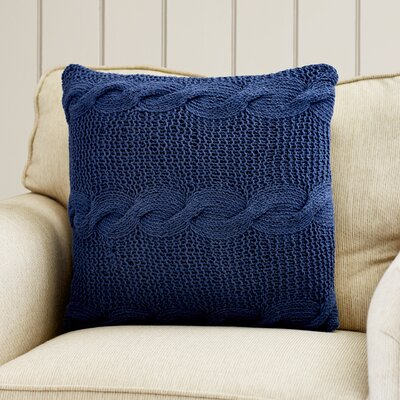 Loganville Cable Knit Throw Pillow Color: Navy