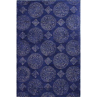 Villanova Hand-Tufted Navy Area Rug Rug Size: 86 x 116