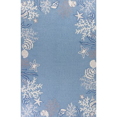 Haverford Hand-Hooked Sea Blue Area Rug Rug Size: 76 x 96