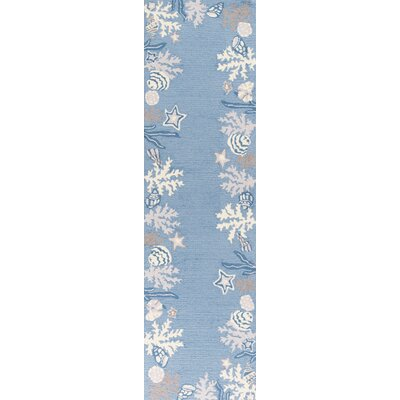 Haverford Hand-Hooked Sea Blue Area Rug Rug Size: Runner 2 x 76
