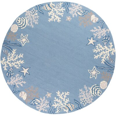 Haverford Hand-Hooked Sea Blue Area Rug Rug Size: Round 76