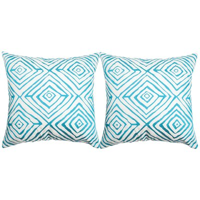 Croydon Diamonds Five Indoor/Outdoor Throw Pillow Color: Light Blue/Cream