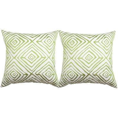 Croydon Diamonds Five Indoor/Outdoor Throw Pillow Color: Sweet Green/Cream