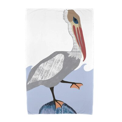 Garrick Bird Wave Beach Towel Color: Gray