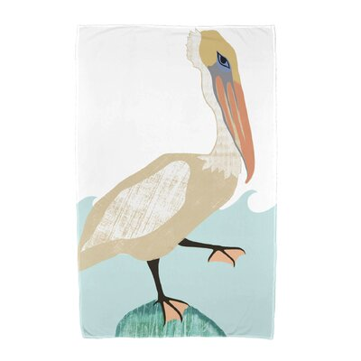 Bird Wave Beach Towel Color: Taupe