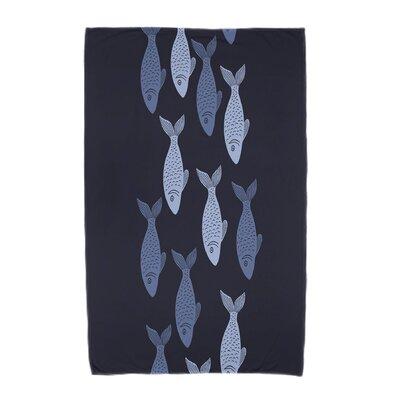 Ethel�Fish Line Beach Towel Color: Navy Blue