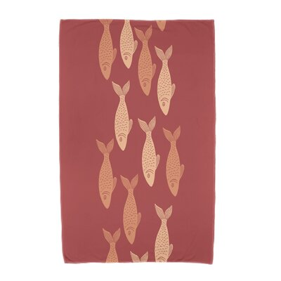 Ethel�Fish Line Beach Towel Color: Coral