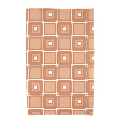 Square Geometric Print Beach Towel Color: Coral