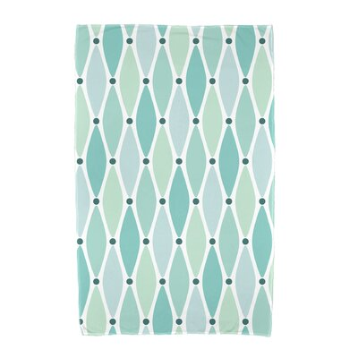 Wavy Geometric Print Cotton Beach Towel Color: Aqua