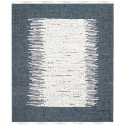 Ona Hand-Woven Cotton White/Navy Area Rug Rug Size: Rectangle 9 x 12