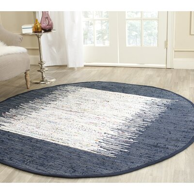 Ona Hand-Woven Cotton White/Navy Area Rug Rug Size: Round 4