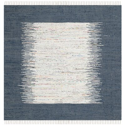 Ona Hand-Woven Cotton White/Navy Area Rug Rug Size: Square 4