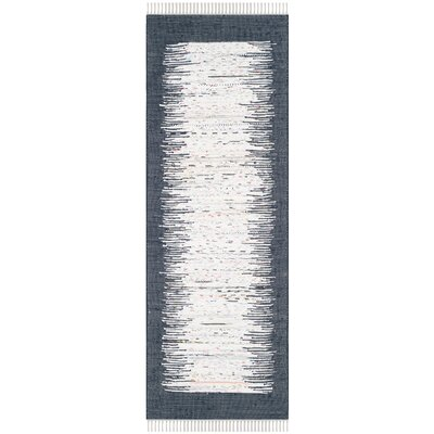 Ona Hand-Woven Ivory / Navy Area Rug Rug Size: Runner 23 x 7