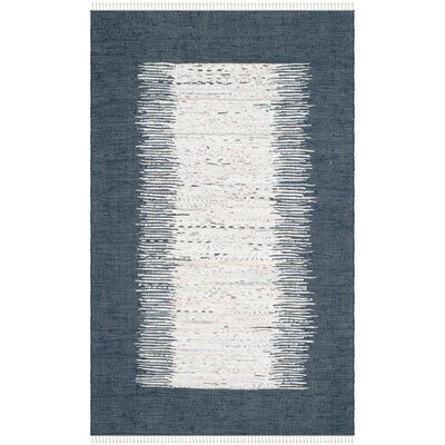 Ona Hand-Woven Ivory / Navy Area Rug Rug Size: 5 x 8