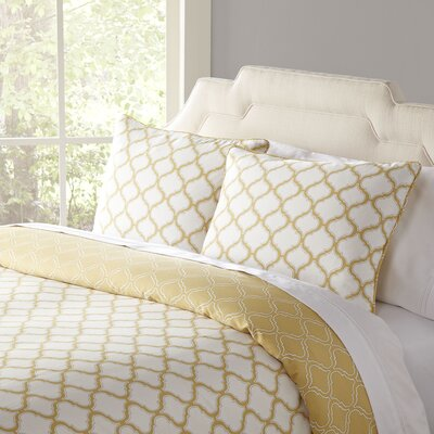 Northcrest 3 Piece Cotton Sateen Duvet Cover Set Size: King, Color: Straw
