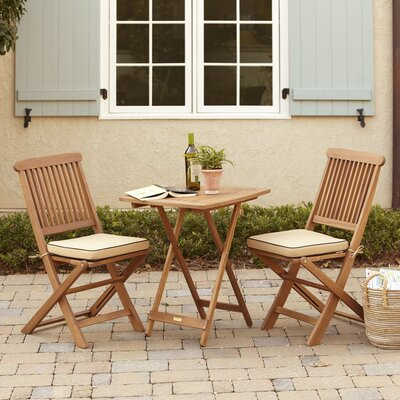 Sunny Isles Square Brazilian Eucalyptus 3 Piece Bistro Set Color: Tan