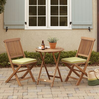 Sunny Isles Round 3 Piece Bistro Set with Cushion Color: Sage