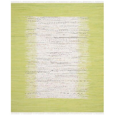 Ona Hand-Woven Ivory/Teal Area Rug Rug Size: Rectangle 5 x 8
