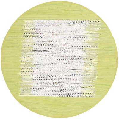 Ona Hand-Woven Cotton Ivory/Lime Area Rug Rug Size: Round 6