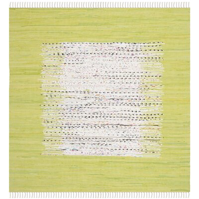 Ona Hand-Woven Cotton Ivory/Lime Area Rug Rug Size: Square 6