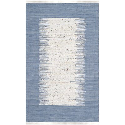 Static Hand-woven Blue/Ivory Area Rug Rug Size: Rectangle 6' x 9'