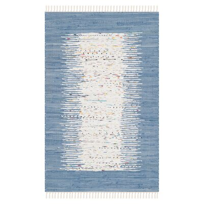 Static Hand-woven Blue/Ivory Area Rug Rug Size: Rectangle 9' x 12'