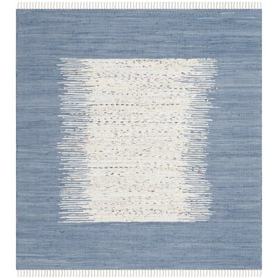 Bartow Ivory/Dark Blue Area Rug Rug Size: Square 6