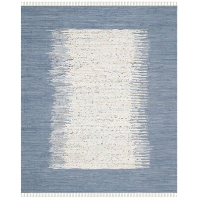 Static Hand-woven Blue/Ivory Area Rug Rug Size: Rectangle 3' x 5'
