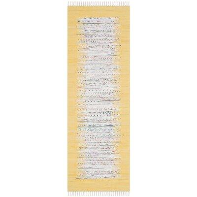 Ona Hand-Woven Ivory/Yellow Area Rug Rug Size: Runner 23 x 7