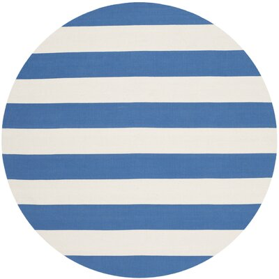 Brookvale Hand-Woven Cotton Blue/Ivory Area Rug Rug Size: Round 6