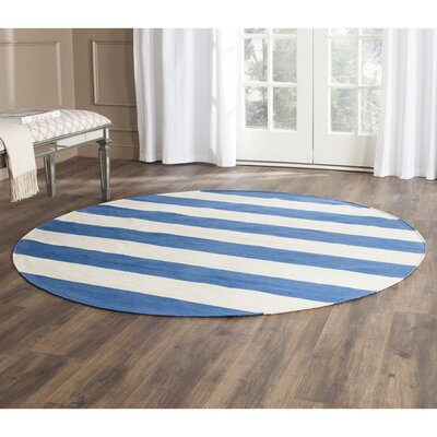 Louella Hand-Woven Cotton Blue/Ivory Area Rug Rug Size: Rectangle 26 x 4