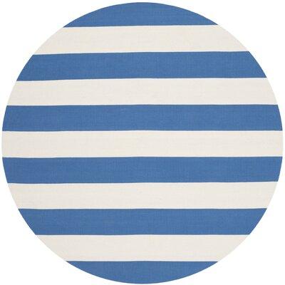 Louella Blue/Ivory Area Rug Rug Size: Round 6