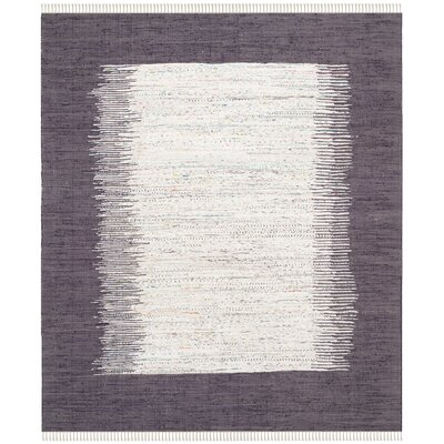 Ona Hand-Woven Cotton Purple/White Area Rug Rug Size: Rectangle 8 x 10