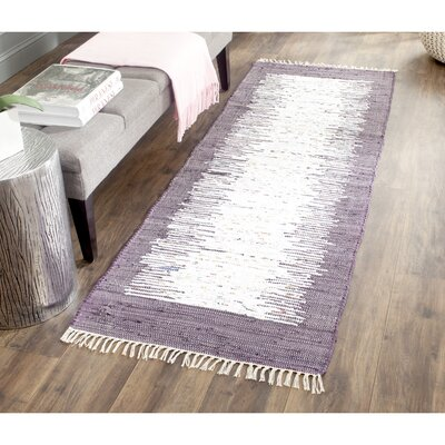 Ona Hand-Woven Cotton Purple/White Area Rug Rug Size: Runner 23 x 7