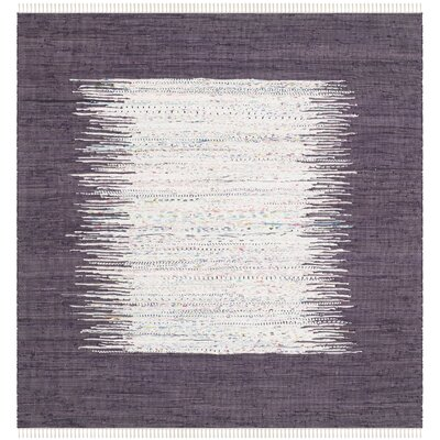 Ona Hand-Woven Cotton Purple/White Area Rug Rug Size: Square 6