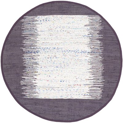 Ona Hand-Woven Ivory / Purple Area Rug Rug Size: Round 6