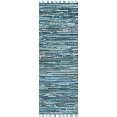 Inkom Hand-Woven Cotton Blue Area Rug Rug Size: Runner 23 x 12