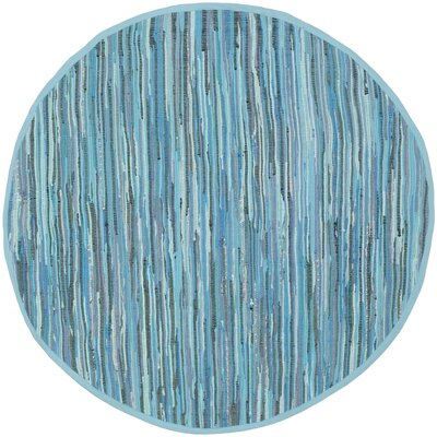 Inkom Blue Striped Area Rug Rug Size: Round 6